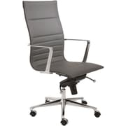 Euro Style 00682GRY Kyler Leatherette High-Back Task Chair with Fixed Arms, Gray