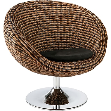 Euro Style™ Oliana Rattan Swivel Chair, Triple Brown