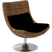 Euro Style™ Fenia Natural Rattan Microfiber Swivel Lounge Chair, Triple Brown