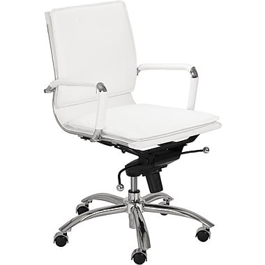 Euro Style 01263WHT Gunar Pro Leatherette Low-Back Task Chair with Fixed Arms, White