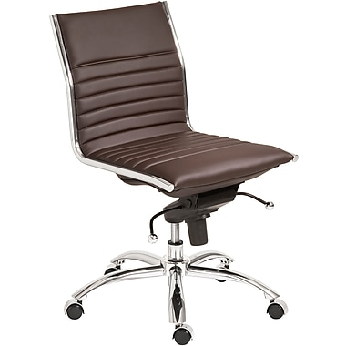 Euro Style™ Dirk Leatherette Low Back Office Chair Without Arms, Brown
