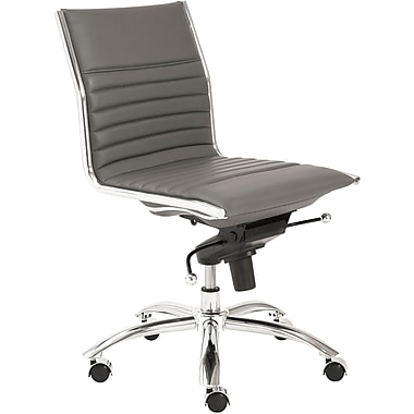 Euro Style 01266GRY Dirk Leatherette Low-Back Armless Task Chair, Gray