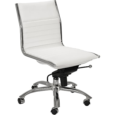 Euro Style™ Dirk Leatherette Low Back Office Chair Without Arms, White