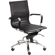 Euro Style 01280BLK Owen Leatherette Low-Back Executive Chair with Fixed Arms, Black