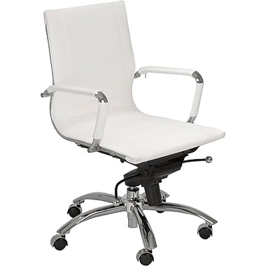 Euro Style™ Owen Leatherette Low Back Office Chair, White