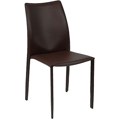 Euro Style™ Dalia Leather Dining Side Chair, Brown