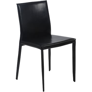 Euro Style™ Shen Leather Dining Side Chair, Black