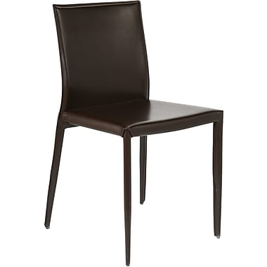 Euro Style™ Shen Leather Dining Side Chair, Brown