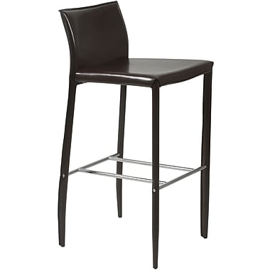 Euro Style™ Shen-B Leather Bar Stool, Brown