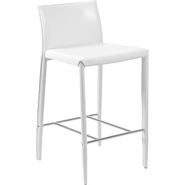 Euro Style™ Shen-B Leather Bar Stool, White