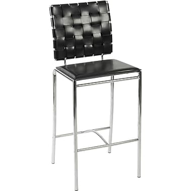 Euro Style™ Carina-C Leather Counter Stool, Black