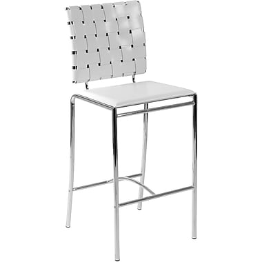 Euro Style™ Carina-C Leather Counter Stool, White