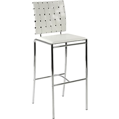 Euro Style™ Carina-B Leather Bar Stool, White