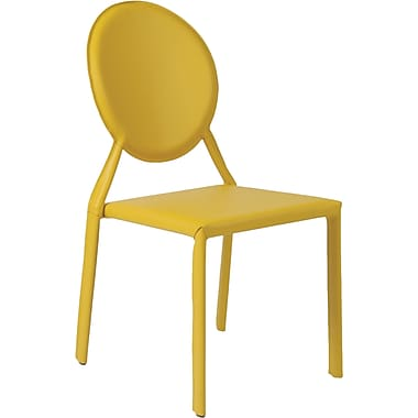 Euro Style™ Isabella Leather Dining Side Chair, Yellow