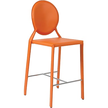 Euro Style™ Isabella-C Leather Counter Stool, Orange