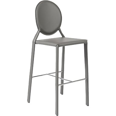 Euro Style™ Isabella-B Leather Bar Stool, Gray