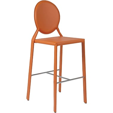Euro Style™ Isabella-B Leather Bar Stool, Orange