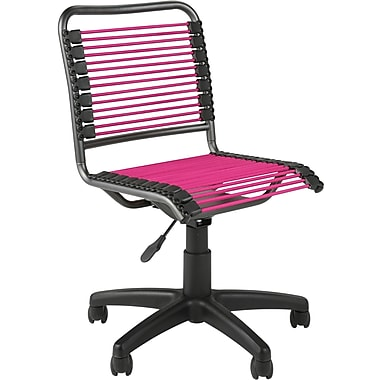 Euro Style 02543 Bungee Cord Low-Back Armless Desk Chair, Pink