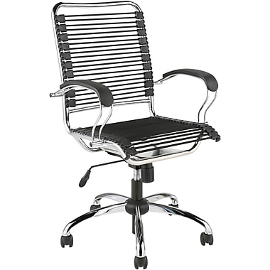 Euro Style 02558 Bungee Cord High-Back Desk Chair with Fixed Arms, Black