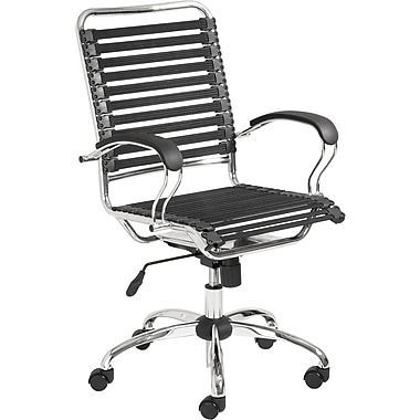 Euro Style 02569BLK Bungee Cord High-Back Desk Chair with Fixed Arms, Black