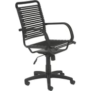 Euro Style 02570BLK Bungee Cord Flat High-Back Desk Chair with Fixed Arms, Graphite Black