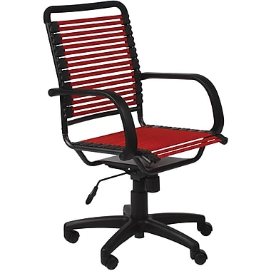 Euro Style 02570RED Bungee Cord Flat High-Back Desk Chair with Fixed Arms, Red