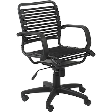 Euro Style™ Bungie Bungee Cord Loops Flat Mid Back Office Chair, Black