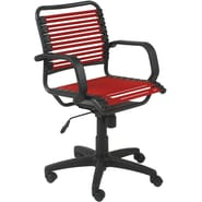 Euro Style™ Bungie Bungee Cord Loops Flat Mid Back Office Chair, Red