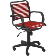 Euro Style 02572RED Bungee Cord Mid-Back Desk Chair with Fixed Arms, Red