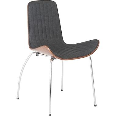 Euro Style™ Curt Fabric Dining Side Chair With Walnut Veener Back, Dark Gray/Walnut