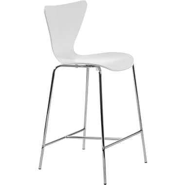 Euro Style™ Tendy-C Laminated Wood Counter Stool, White