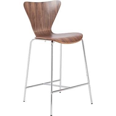 Euro Style™ Tendy-C Laminated Wood Counter Stool, Walnut