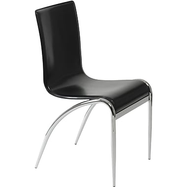 Euro Style™ Grace Leather Dining Side Chair, Black