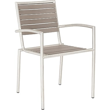 Euro Style™ Nathan Simulated Teak Arm Chair, Taupe