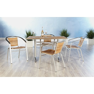 Euro Style™ Shirley Teak Dining Arm Chair, Teak/Aluminum
