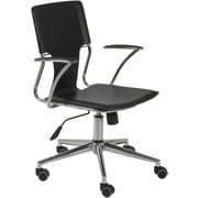 Euro Style 04401 Terry Leatherette Executive Office Chair with Fixed Arms, Black
