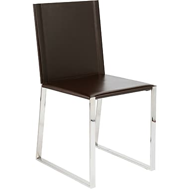 Euro Style™ Cora Leather Dining Side Chair, Dark Brown