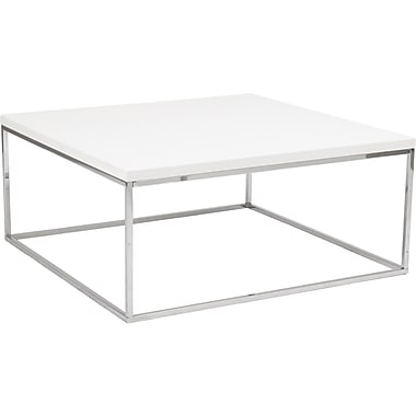 Euro Style™ Teresa 36in. Square Wood/Stainless Steel Coffee Table, White