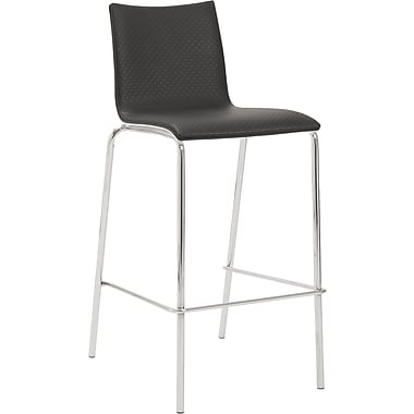 Euro Style™ Carisa-B Leatherette Bar Stool, Black/White