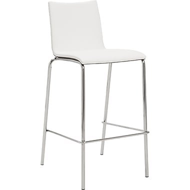 Euro Style™ Carisa-B Leatherette Bar Stool, White/Walnut