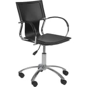 Euro Style 17210BLK Vinnie Leather Executive Chair with Fixed Arms, Black