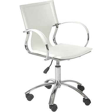 Euro Style 17210WHT Vinnie Leather Executive Chair with Fixed Arms, White