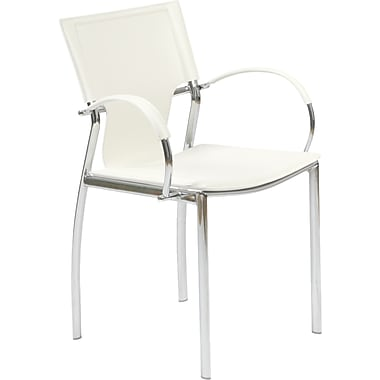 Euro Style™ Vinnie Leather Arm Chair, White