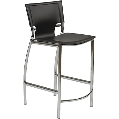 Euro Style™ Vinnie-C Leather Counter Stool, Black