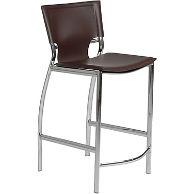 Euro Style™ Vinnie-C Leather Counter Stool, Brown