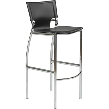 Euro Style™ Vinnie-B Leather Bar Stool, Black