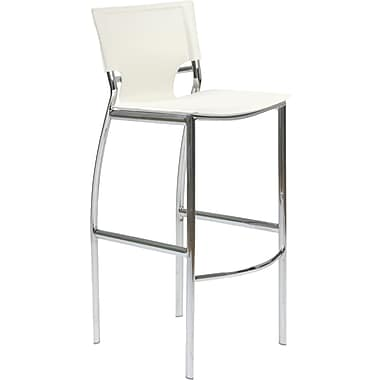 Euro Style™ Vinnie-B Leather Bar Stool, White