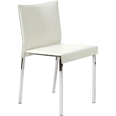 Euro Style™ Riley Leather Dining Side Chair, White