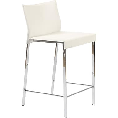 Euro Style™ Riley-C Leather Counter Stool, White