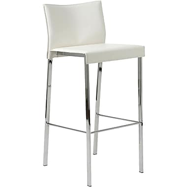 Euro Style™ Riley-B Leather Bar Stool, White